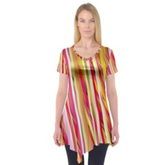 Color Ribbons Background Wallpaper Short Sleeve Tunic