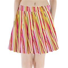 Color Ribbons Background Wallpaper Pleated Mini Skirt