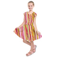 Color Ribbons Background Wallpaper Kids  Short Sleeve Dress