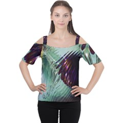 Out Of Time Glass Pearl Flowag Women s Cutout Shoulder Tee
