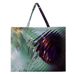 Out Of Time Glass Pearl Flowag Zipper Large Tote Bag