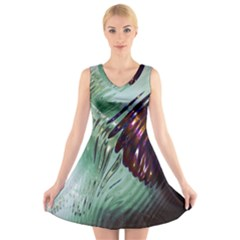 Out Of Time Glass Pearl Flowag V Neck Sleeveless Skater Dress