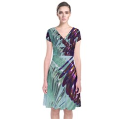 Out Of Time Glass Pearl Flowag Short Sleeve Front Wrap Dress