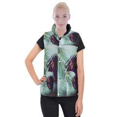Out Of Time Glass Pearl Flowag Women s Button Up Puffer Vest