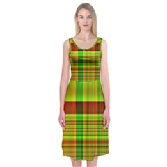 Multicoloured Background Pattern Midi Sleeveless Dress