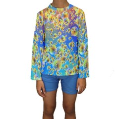 Color Particle Background Kids  Long Sleeve Swimwear
