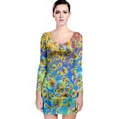 Color Particle Background Long Sleeve Bodycon Dress