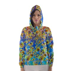Color Particle Background Hooded Wind Breaker (Women)