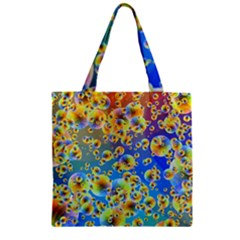 Color Particle Background Zipper Grocery Tote Bag