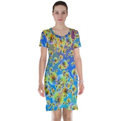 Color Particle Background Short Sleeve Nightdress