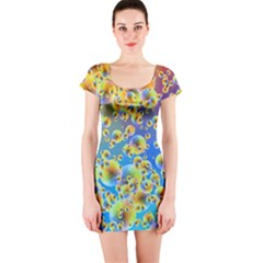 Color Particle Background Short Sleeve Bodycon Dress