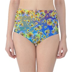 Color Particle Background High-Waist Bikini Bottoms