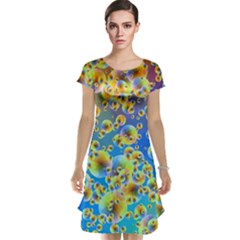 Color Particle Background Cap Sleeve Nightdress