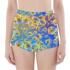 Color Particle Background High Waisted Bikini Bottoms