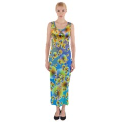 Color Particle Background Fitted Maxi Dress