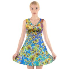 Color Particle Background V Neck Sleeveless Skater Dress