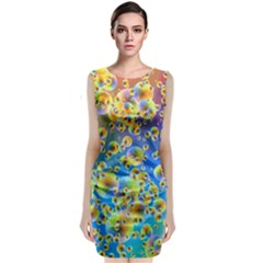 Color Particle Background Classic Sleeveless Midi Dress