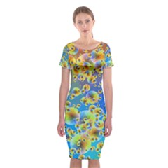 Color Particle Background Classic Short Sleeve Midi Dress