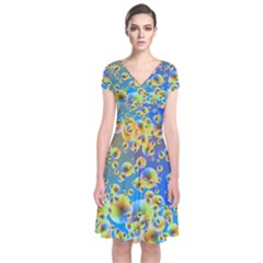 Color Particle Background Short Sleeve Front Wrap Dress