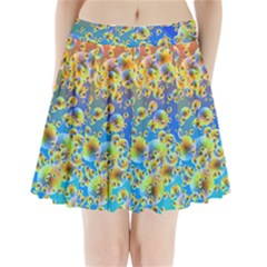 Color Particle Background Pleated Mini Skirt