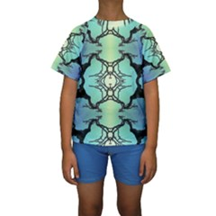 Branches With Diffuse Colour Background Kids  Short Sleeve Swimwear