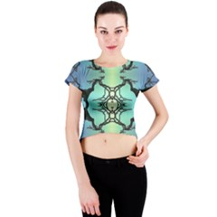 Branches With Diffuse Colour Background Crew Neck Crop Top