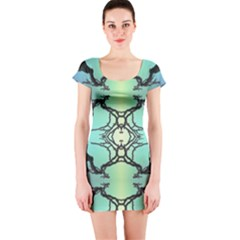 Branches With Diffuse Colour Background Short Sleeve Bodycon Dress