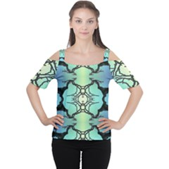 Branches With Diffuse Colour Background Women s Cutout Shoulder Tee