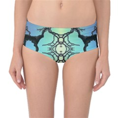 Branches With Diffuse Colour Background Mid Waist Bikini Bottoms