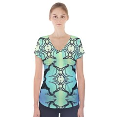 Branches With Diffuse Colour Background Short Sleeve Front Detail Top