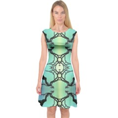 Branches With Diffuse Colour Background Capsleeve Midi Dress