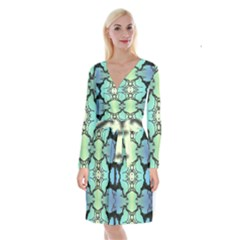 Branches With Diffuse Colour Background Long Sleeve Velvet Front Wrap Dress