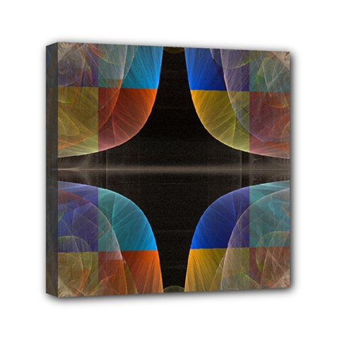 Black Cross With Color Map Fractal Image Of Black Cross With Color Map Mini Canvas 6  X 6