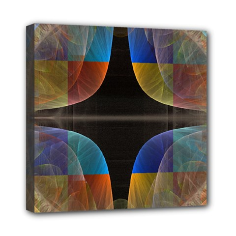 Black Cross With Color Map Fractal Image Of Black Cross With Color Map Mini Canvas 8  X 8