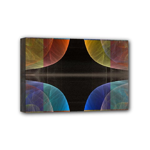 Black Cross With Color Map Fractal Image Of Black Cross With Color Map Mini Canvas 6  x 4