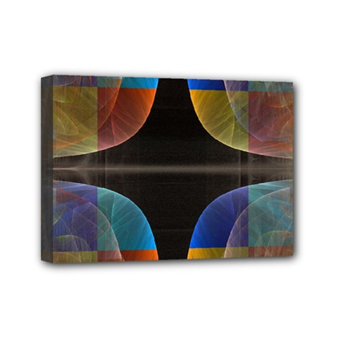 Black Cross With Color Map Fractal Image Of Black Cross With Color Map Mini Canvas 7  X 5