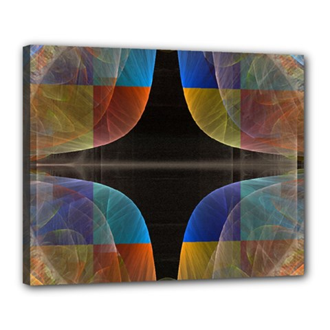 Black Cross With Color Map Fractal Image Of Black Cross With Color Map Canvas 20  x 16