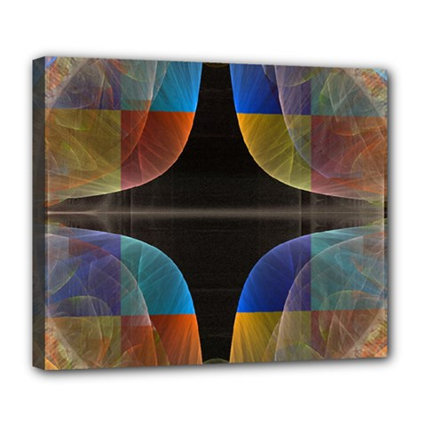 Black Cross With Color Map Fractal Image Of Black Cross With Color Map Deluxe Canvas 24  x 20
