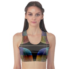 Black Cross With Color Map Fractal Image Of Black Cross With Color Map Sports Bra