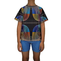 Black Cross With Color Map Fractal Image Of Black Cross With Color Map Kids  Short Sleeve Swimwear