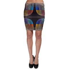 Black Cross With Color Map Fractal Image Of Black Cross With Color Map Bodycon Skirt