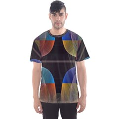 Black Cross With Color Map Fractal Image Of Black Cross With Color Map Men s Sport Mesh Tee