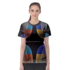 Black Cross With Color Map Fractal Image Of Black Cross With Color Map Women s Sport Mesh Tee