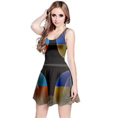 Black Cross With Color Map Fractal Image Of Black Cross With Color Map Reversible Sleeveless Dress