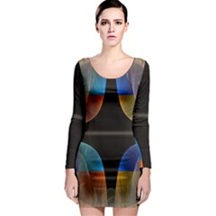 Black Cross With Color Map Fractal Image Of Black Cross With Color Map Long Sleeve Bodycon Dress
