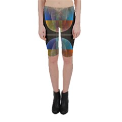 Black Cross With Color Map Fractal Image Of Black Cross With Color Map Cropped Leggings