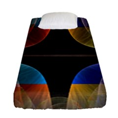 Black Cross With Color Map Fractal Image Of Black Cross With Color Map Fitted Sheet (single Size)
