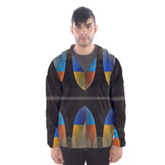 Black Cross With Color Map Fractal Image Of Black Cross With Color Map Hooded Wind Breaker (men)