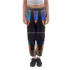 Black Cross With Color Map Fractal Image Of Black Cross With Color Map Women s Jogger Sweatpants