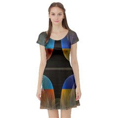 Black Cross With Color Map Fractal Image Of Black Cross With Color Map Short Sleeve Skater Dress